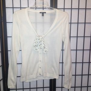 MNG by Mango Cream Tie Front Button Cardigan Small